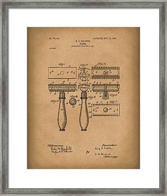 Razor 1904 Patent Art Brown Framed Print