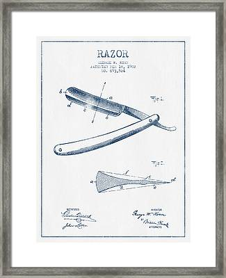 Razor Patent From 1902 - Blue Ink Framed Print by Aged Pixel