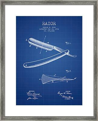 Razor Patent From 1902 - Blueprint Framed Print