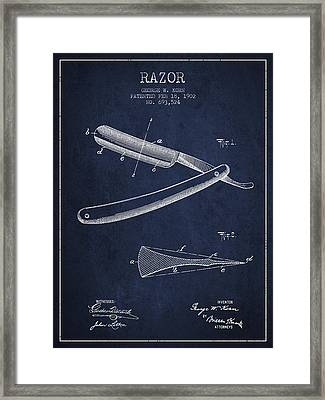 Razor Patent From 1902 - Navy Blue Framed Print