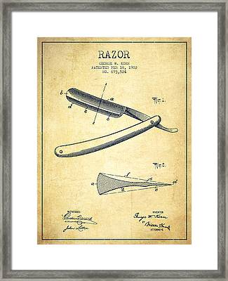 Razor Patent From 1902 - Vintage Framed Print by Aged Pixel