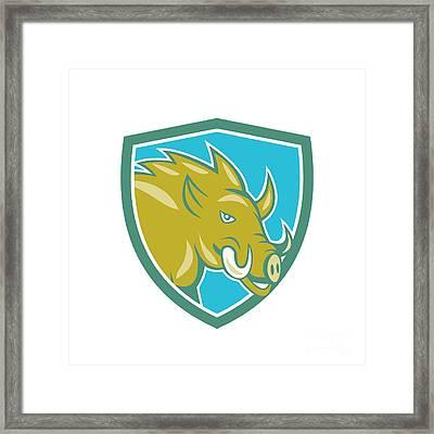 Razorback Head Charge Shield Cartoon Framed Print