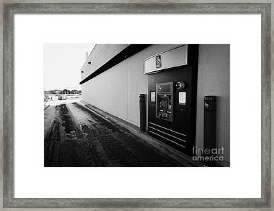 rbc drive through atm outside bank in winter Saskatoon Saskatchewan Canada Framed Print by Joe Fox