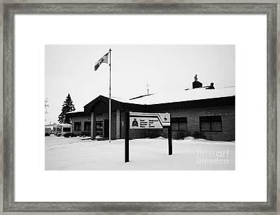 rcmp royal canadian mounted police station in the small town of Kamsack Saskatchewan Canada Framed Print by Joe Fox