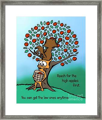 Framed Print featuring the drawing Reach For The High Apples by Pet Serrano