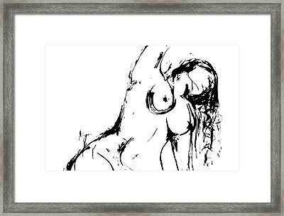 Framed Print featuring the drawing Reach by Helen Syron