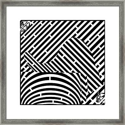 Reaching Cat Maze Op Art Framed Print by Yonatan Frimer Op Art Mazes