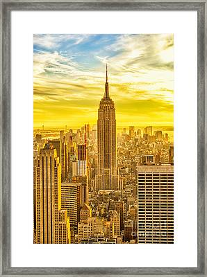 Reaching For The Sky Empire State Building New York City Framed Print by Sabine Jacobs