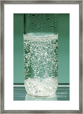 Reaction Of Sodium Carbonate In Acid Framed Print by Martyn F. Chillmaid