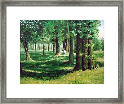 Reader In The Park Framed Print by Laila Awad Jamaleldin