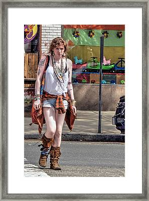 Redhead Crossing Main Street Framed Print