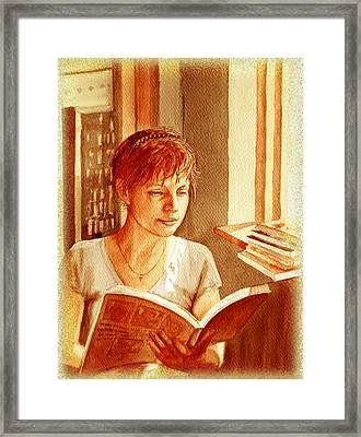 Framed Print featuring the painting Reading A Book Vintage Style by Irina Sztukowski