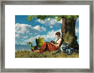 Reading About Dragons Framed Print