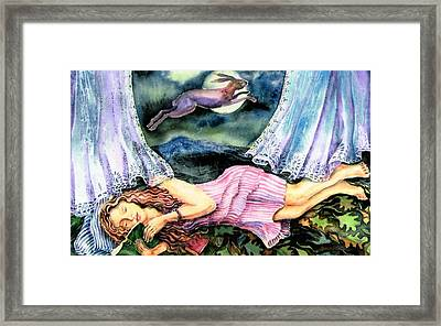 Eostra And The Hare  Framed Print by Trudi Doyle