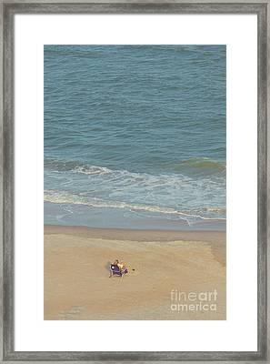Reading At The Ocean Framed Print