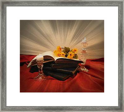 Reading By Candle Light Framed Print by Carol Grenier