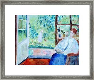 Reading By The Garden Framed Print