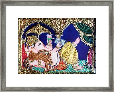 Reading Ganesha Framed Print