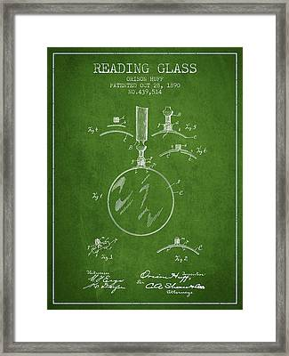 Reading Glass Patent From 1890 - Green Framed Print by Aged Pixel