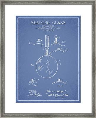 Reading Glass Patent From 1890 - Light Blue Framed Print by Aged Pixel