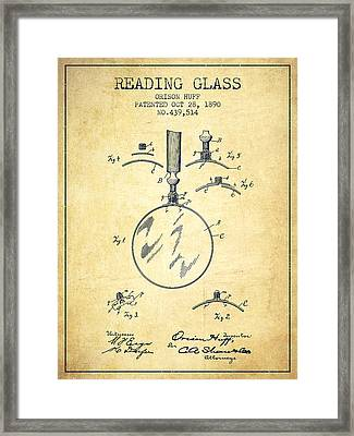 Reading Glass Patent From 1890 - Vintage Framed Print by Aged Pixel