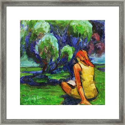 Framed Print featuring the painting Reading In A Park by Xueling Zou