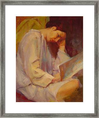 Reading In The Blue Robe  Framed Print by Irena  Jablonski