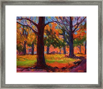 Reading In The Park Framed Print