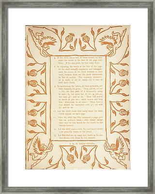 Reading Instructions For A Child Framed Print by British Library