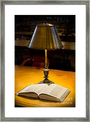 Reading Lamp And Book Framed Print by Jerry Fornarotto