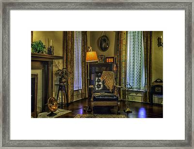 Reading Nook With Leather Chair Framed Print by Lynn Palmer