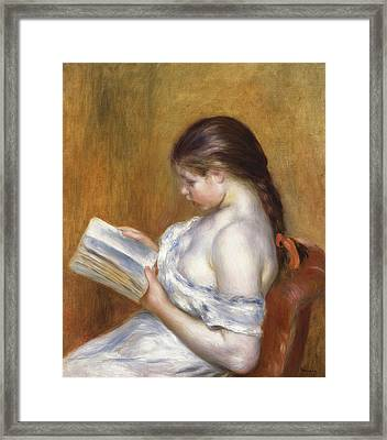Reading Framed Print by Pierre Auguste Renoir