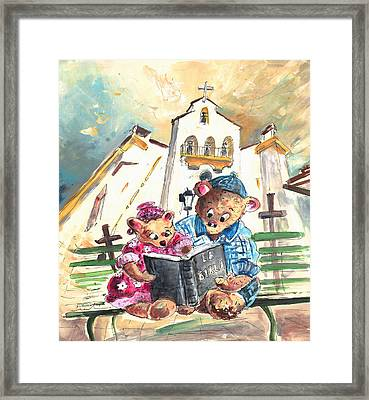 Reading The Bible In La Iruela In Spain Framed Print by Miki De Goodaboom