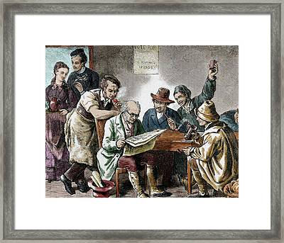 Reading The Newspaper In The Tavern Framed Print