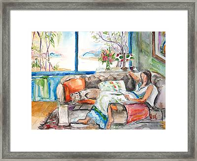 Framed Print featuring the painting Reading Time by Becky Kim