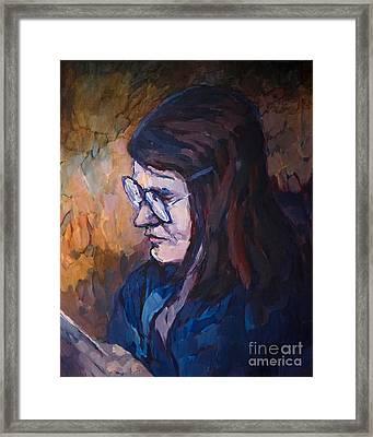Reading Woman Framed Print by Lutz Baar