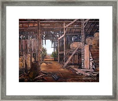 Framed Print featuring the painting Reads Barn Hwy 124 by Anna-maria Dickinson