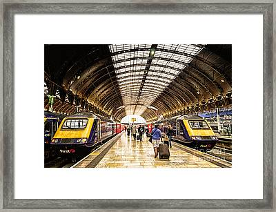 Ready For Departure - Trains Ready To Depart From Under The Grand Roof Of London Paddington Station Framed Print
