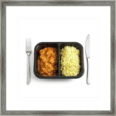 Ready Meal Curry And Rice Framed Print