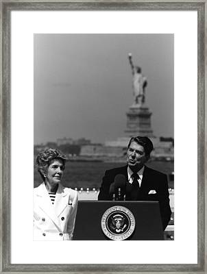 Reagan Speaking Before The Statue Of Liberty Framed Print by War Is Hell Store