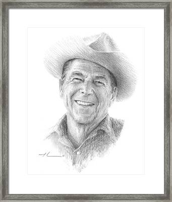 Reagan Drawing Mike Theuer Framed Print by Mike Theuer