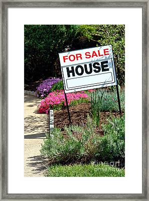 Real Estate For Sale Sign And Garden Framed Print