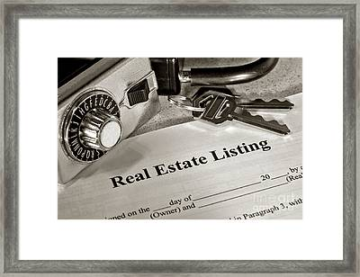 Real Estate Listing And Lock Box Framed Print
