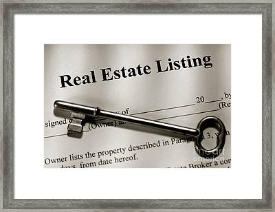 Real Estate Listing Contract And Old House Key Framed Print