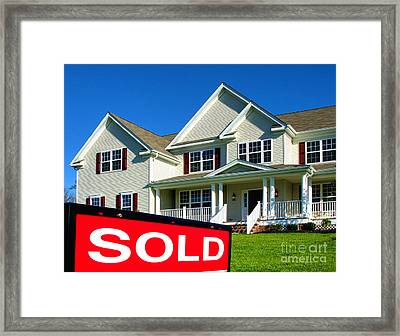 Real Estate Realtor Sold Sign And House For Sale Framed Print