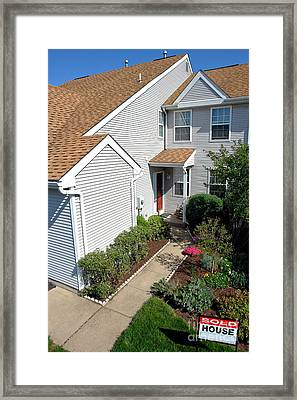 Real Estate Sold Sign And House View From Above Framed Print