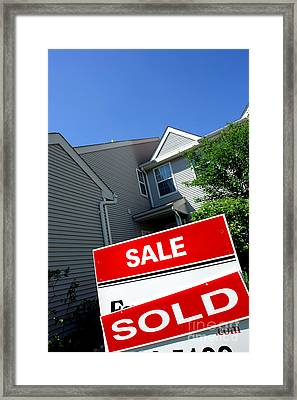 Real Estate Sold Sign And Townhouse Framed Print
