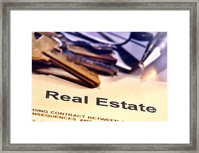 Real Estate Title Word On A Realtor Contract Page Framed Print by Olivier Le Queinec