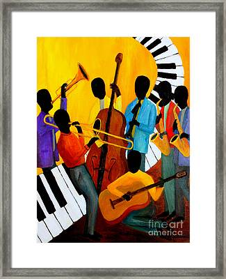 Real Jazz Octet Framed Print by Larry Martin
