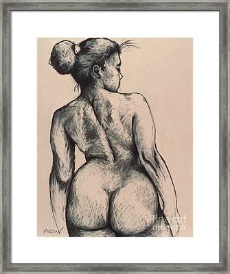 realistic nude figure drawing - Katja on Beige Framed Print
